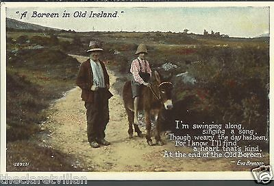A Boreen in Old Ireland Eva Brennan  Donkey Old Unposted Postcard