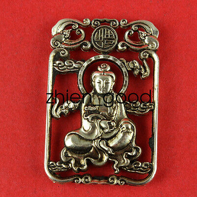 Decorated Wonderful Miao Silver Carving Lifelike Guanyin Rare Lucky Pendant