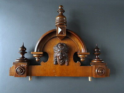 Vintage wooden wall clock pediment with face to centre - clock spares & parts