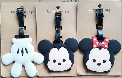 3 Styles Disney Mickey Minnie Mouse Palm Glove PVC Travel Suitcase Luggage Tags