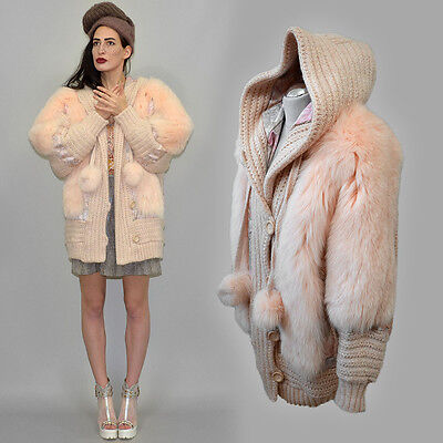 Vintage Real Dyed Arctic Fox Fur Chunky Mohair Knit Cardigan Jacket Hooded Coat