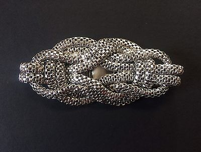 Vintage 70s Costume Jewellery Bracelet Silver Coloured Metal Snake Chain Disco !