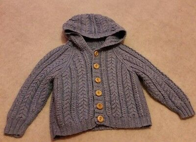 Boys Handmade Knitted Blue Cardigan Age 6-12 Months