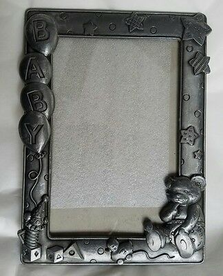 Baby picture frame teddy bear holds 4 x 6 photo  Pewter