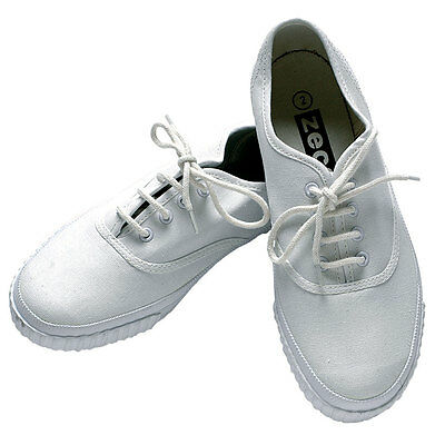 Zeco School Uniform Unisex Girls/Boys Adults White Lace Up Plimsolls (PL3222)