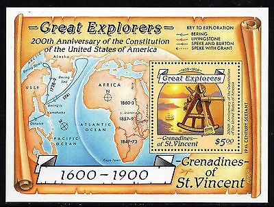 Grenadines of St. Vincent 1988 Great Explorers Miniature Sheet Unmounted Mint