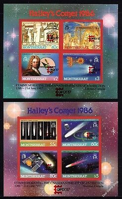 Montserrat 1986 2x Miniature Sheets Halley's Comet Imperforated Unmounted Mint