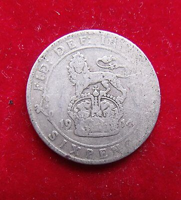 1914 George V British Silver Sixpence