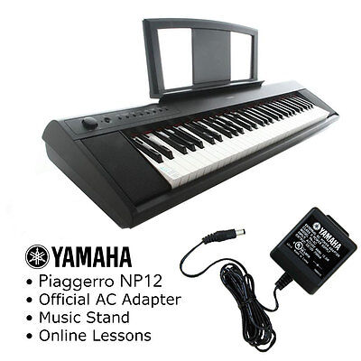 Yamaha Piaggero NP-12 Digital Piano Keyboard Pack with Music Stand AC & Lessons