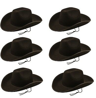 0bac258bf67 Pack of 6 Black Cowboy Hat - Adult Fancy Dress - Party Accessories - Wild  West