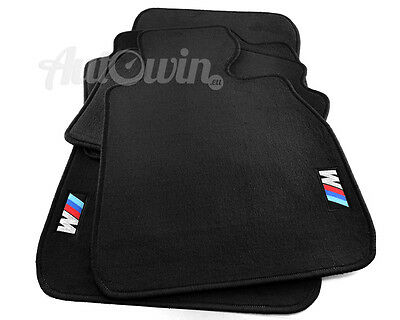 BMW 4 Series F33 Black Floor Mats With M Emblem RHD Side Clips UK