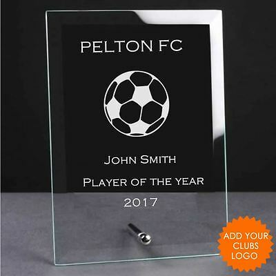 Personalised Football Glass Plaque Trophy Award - Engraved Football Trophies