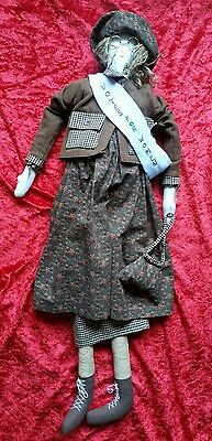 Vintage Votes For Women Suffragette Childrens Rag Doll 28'' Handmade c1980s