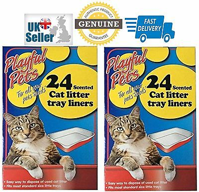 48 Quality Scented Fragranced Cat Litter Tray Liners Disposable Bags Sheets