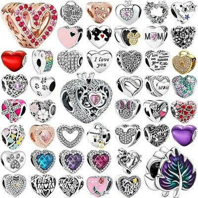 925 sterling LOVE heart silver charm bead For European charms bracelet chain