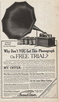 1909 Edison National Phonograph Co Orange NJ Standard Outfit cylinder player Ad