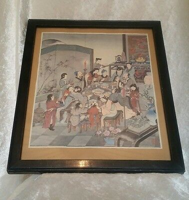Antique Japanese Coloured Framed Print of People Having A Feast c1960s