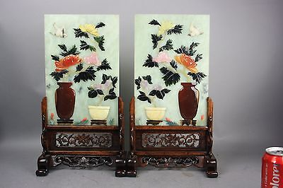 19th/20th C. PAIR OF EMBELLISHED JADE TABLE SCREENS