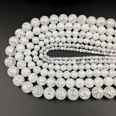 4-14mm Natural Cracked Round Crystal Quartz Rock Gem Beads Strand 15''