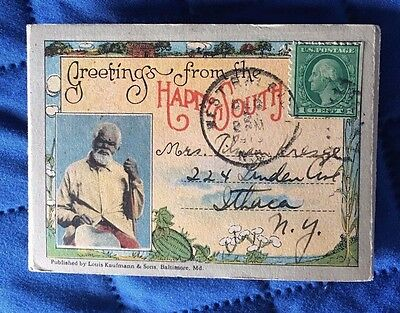 Greetings From the Happy South Black Americana Post Card 1919 Black History