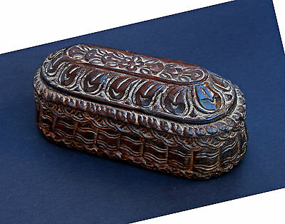 Antique Carved Hardwood Box Himalayan Bhutan Tibet India French Flea Market Find
