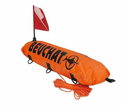 Spearfishing Inflatable Float Beuchat Torpedo Double Bladder with Line and Flag