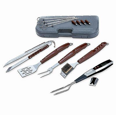 BBQ Tool Set 17 Piece Barbecue Grill Stainless Steel Wood Case Utensils Outdoor