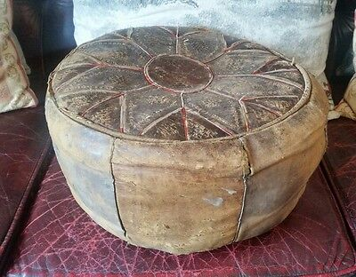 Vintage Moroccan Genuine Leather Ottoman Pouffe Footstool Distressed Look