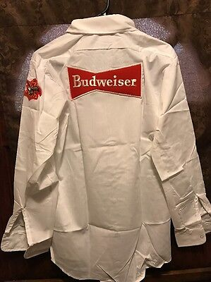 BUDWEISER AB BREWING ~ Mens LRG ~ VINTAGE ~ NOS in Package Beer Delivery Shirt