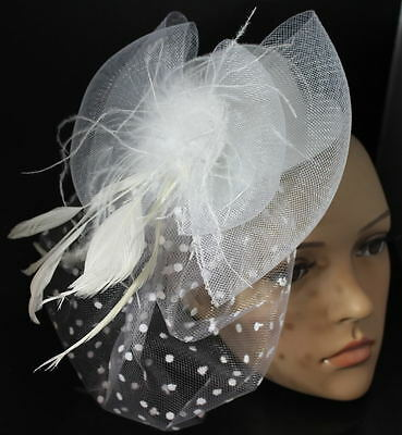 White Mini Top Hat Feather Net Hair Clips Fascinator Bow