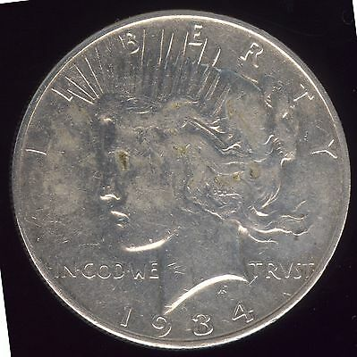 Genuine 1934-S Scarcer Date Silver Peace Dollar with VF Details