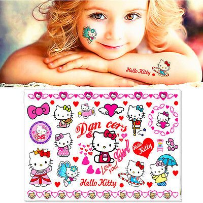 Hello Kitty Cats Cartoon Flash Tattoo Sticker Temporary Body Art Girls Love Toys