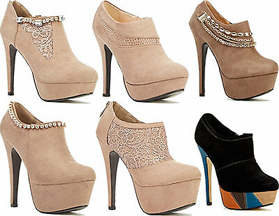 Womens Ladies Platform High Heel Party Fashion Zip Ankle Shoe Boots Booties Size
