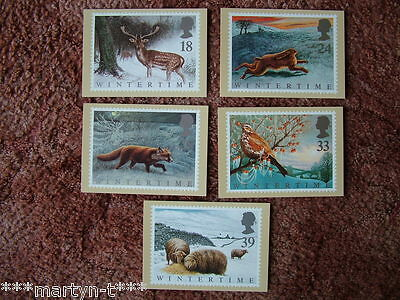 PHQ Stamp card set FDI Back No 140 Wintertime, 1992. 5 card set.  Mint Condition