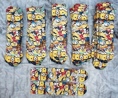 Wholesale Lot 50 Pairs Boys Minion Despicable Minions Socks One Size 12 - 3.5
