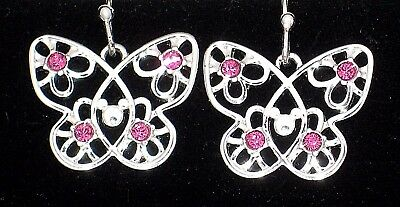 Boxed Mickey Mouse Silver Butterfly Earrings✿Disney World Authentic Gift Ready