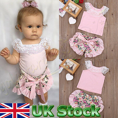 Newborn Infant Baby Girls Summer Floral Outfits Clothes T-shirt Tops Pants Set