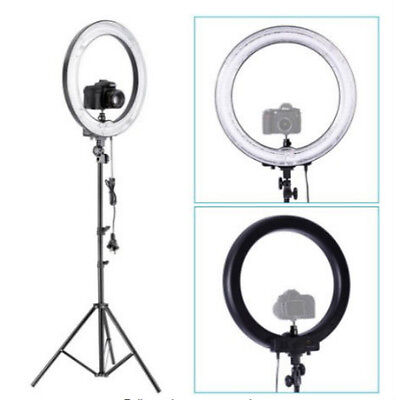 "Camera Photo 18""outer 14""inner 600W 5500K Ring Dimmable Flash Light w Stand"