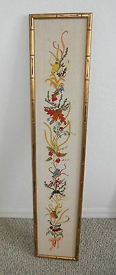 """VINTAGE Textile Art Asian Peacocks 45"""" Long PANEL Hand Embroidered WALL HANGING"""