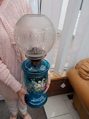 Superb Victorian Blue Glass Oil Container Lamp Drop In Reservoir Font
