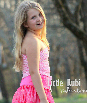 """NEW Girls 12"""" 10"""" 7"""" unlined Lined Crochet Tutu Top tube + Colors  2-12yrs"""