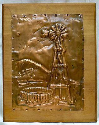 Very Decorative Vintage Windmill Embossed Copper Art nailed on Wooden Plaque