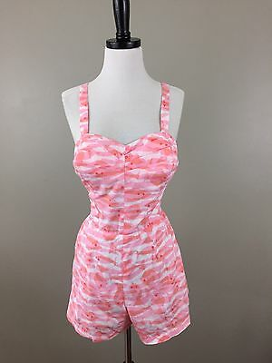 VTG Nalii Honolulu Hawaiian Fish Swimsuit Romper Pink Playsuit Pin Up Beach