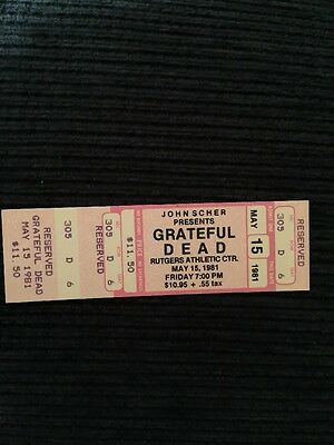 Grateful Dead Unused Ticket Rutgers May 15,1981
