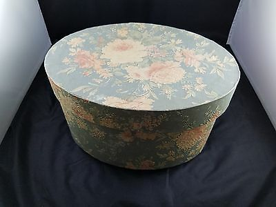 Beautiful Collectible Oval Flower Pattern Handmade Wallpaper Hat Box-Blue & Pink
