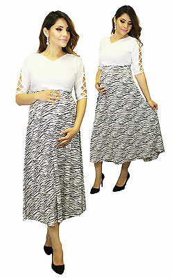 Zebra Maternity Wedding Black White Casual Dress Long Maxi Dresses BabyShower