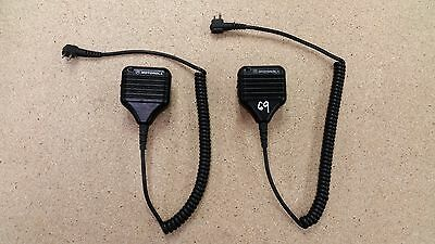 TWO USED Motorola 2-Prong RSM Remote Speaker Microphone HMN9030A & Swivel Clips