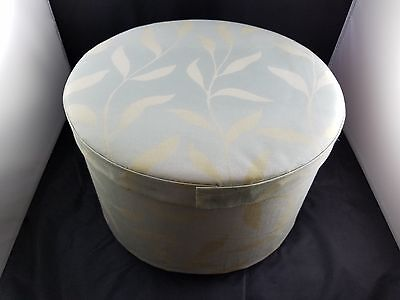 Beautiful Collectible Large Leaf Pattern Handmade Cloth Hat Box-Blue,green&white
