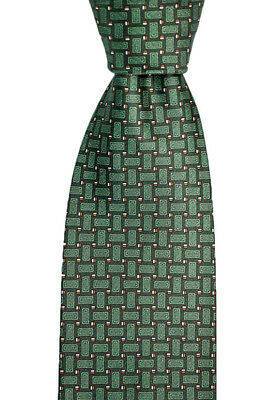 "Mens BRIONI Italy Green Geometric Hand Made Woven 3.25"" Silk Neck Tie NWT!"