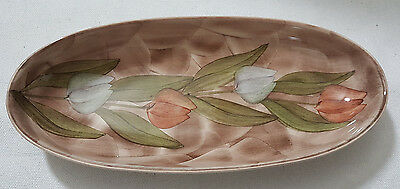Jersey Pottery -Hand Painted  Oval Tulip Design Dish 23 cm x 10 cm